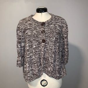 CATO brown marl cable-knit boxy cardi, 3/4 sleeves
